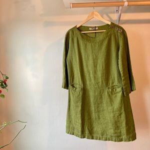 FLAX Green Linen Tunic